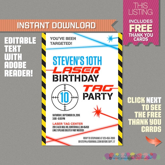 It's just a photo of Bright Laser Tag Birthday Invitations Free Printable