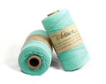 Turquoise / Caribbean blue / aqua color cotton bakers twine 240 yards 4 ply made in USA