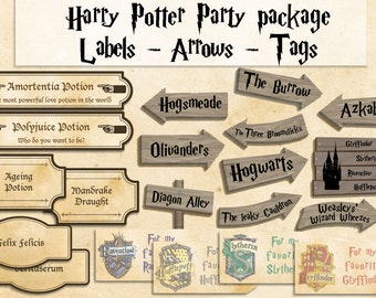 Harry Potter printables party package Harry Potter party decorations Instant download party décor harry potter tags harry potter labels