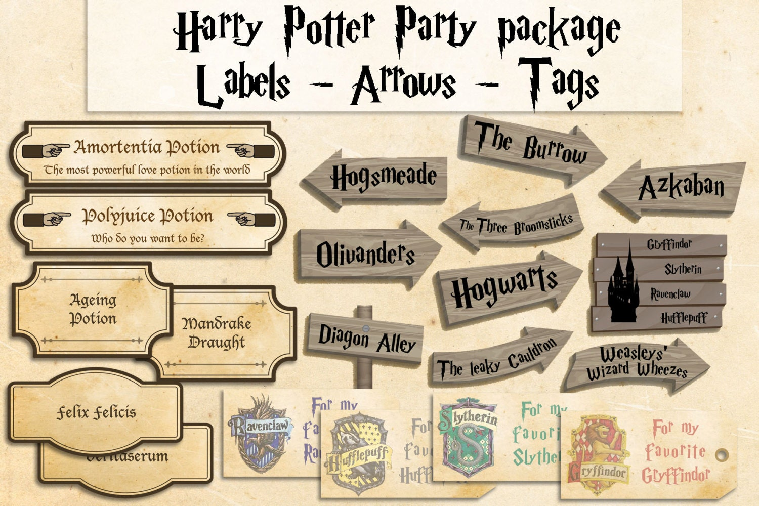 This is an image of Mesmerizing Free Printables for Harry Potter Parties