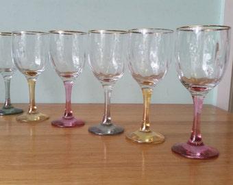 Vintage wine glasses coloured tumblers