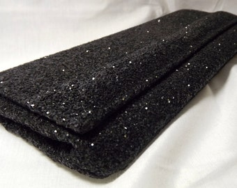 Vintage Black Glitter Clutch Envelope Evening Purse, Fulco Provedence, Rhode Island