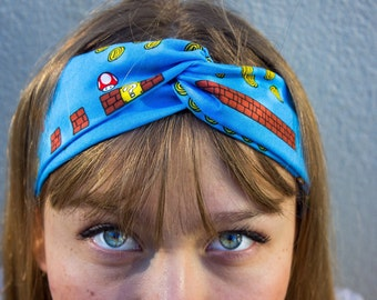 Super Mario Vintage Game Boy Twisted Elastic Headband HeadWrap For Her For Children Geekery