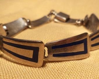 Vintage Bracelet, Sterling Silver, Art Deco Blue, Signed, Stamped, Mexican Silver