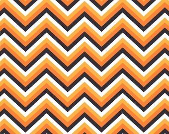 Black, orange, yellow-orange and white chevron craft  vinyl sheet - HTV or Adhesive Vinyl -  Halloween zig zag pattern   HTV6501