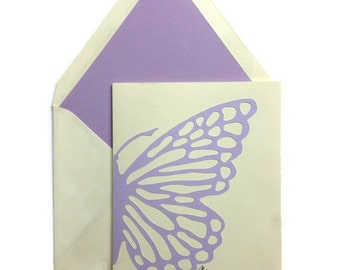 "Butterfly Note Cards, Lavender, Box of 8,  Lined Envelopes, Card Stock, Boxed Sets, Mariposa, 4"" X 5.5"""