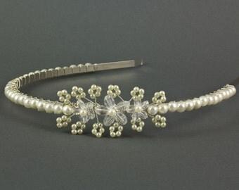 Floral Wedding Headband | Crystal Headband | Pearl Side Tiara Headband |  Pearl Headband | Wedding Tiara | Bridesmaid Wedding Hairband |