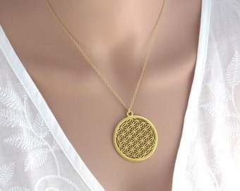 flower of life gold necklace , seed of life necklace , sacred geometry pendant , kabala jewelry , new age jewelry , gold mandala
