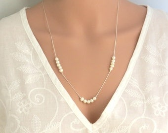 White pearl chain necklace, silver pearl necklace, pearl beaded necklace, pearl long chain necklace, dainty necklace, wedding gift