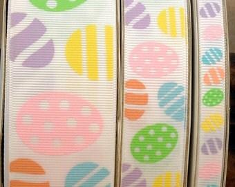 "2 Yards 3/8"", 7/8"" or 1.5"" Pastel Easter Egg Print Grosgrain Ribbon - US Designer"