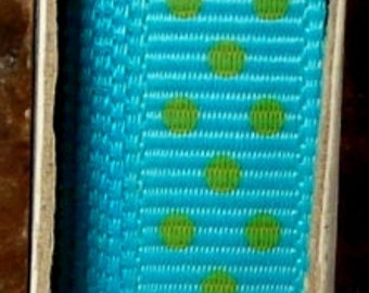 "2 Yards 3/8"" Swiss Dots - Turquoise with Lime Swiss Dots Grosgrain Print Ribbon"
