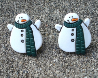 Snowman Earrings, Christmas Earrings, Snowman Posts, Holiday Earrings, Snowman Jewelry