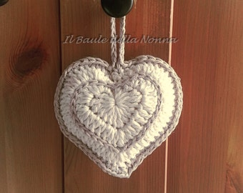 """Shabby"" heart crochet wedding favor decoration (article 71)"