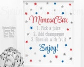 Mimosa Bar Sign - 4th of July Party Decorations, Patriotic Red White Royal Blue Silver Glitter Baby or Bridal Shower Ideas, Sip N See Sign