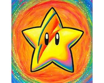 Starman Art Print - Mario Star David Bowie Fan Art - Nintendo - Bright Colorful Rainbow Sparkle - Video Game Art - Home Decor Gift for Gamer