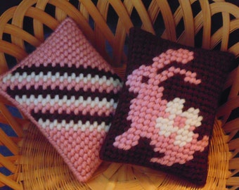 Pink Bunny, Easter Bunny, Mini Pillows, Basket Fillers, Needlepoint Pillows, Bunny Pillows, Bunny Pincushion, Rabbit Pillow