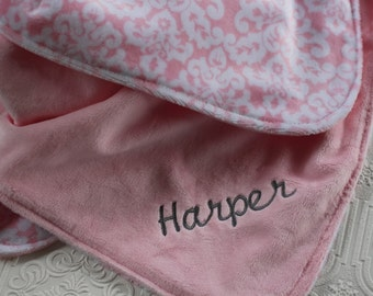 Personalized Baby Blanket, Baby Girl Name Blanket, Pink Damask, Pink Minky Blanket, Monogrammed Baby Blanket, Baby Shower Gift, Minky Baby