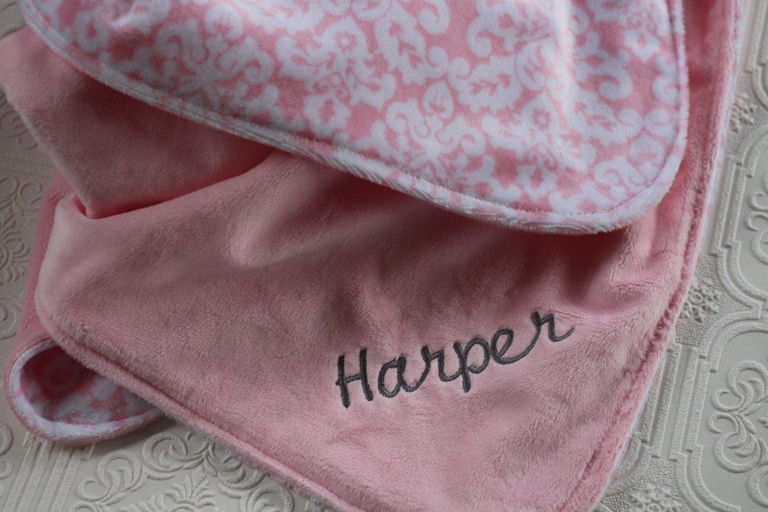 Personalized Baby Blanket Baby Girl Name Blanket Pink