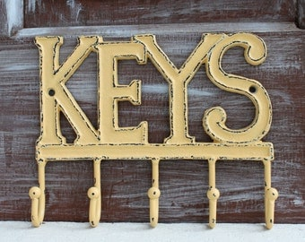 Key Organizer, Wall Key Holder, Key Hanger, Wall Mount Key Rack, Yellow Wall Hook, Housewarming Gift, Entryway Organizer, Key Hooks