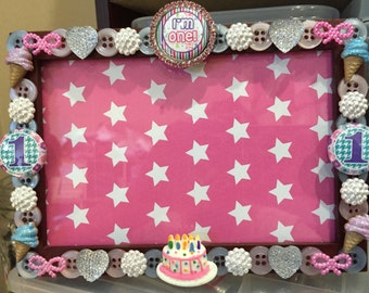 1st Birthday button Picture Frame
