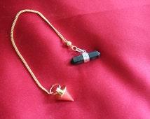1168.Brass Pendulum & Onyx Pendulum-Yes, 2 Pendulums! Energies of These Pendulums are In Sync! Defensive Magick.Sun/FireMagick.Money.Joy
