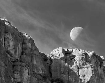 Moonset Over Santa Elena, Big Bend National Park, Texas - Black and White Photograph