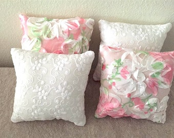 "4 Pillows -- Pink / Mint Green / White -- 18"" doll accessories - FREE SHIPPING"