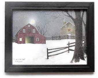 Christmas Art, A Light in the Stable, Billy Jacobs, Art Print, Barn Picture, Primitive, Wall Hanging, Handmade, Wood Frame, Made in USA