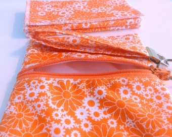 Mini Grab n Go Wet Bag & Washable Wipes in Orange and White Floral Print With Wrist Strap, Teachers Gift