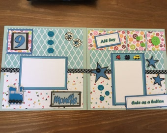 "Two ""Cute as a Button"" pre-made scrapbook pages 12"" x 12"" for your baby boy's 9 month pictures"