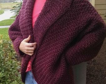 Trendy wool jacket sweater in mulberry tweed. Crochet women's clothing