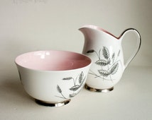 Vintage Queen Anne Bone China 'Harvest Pink' Milk Jug & Sugar Bowl