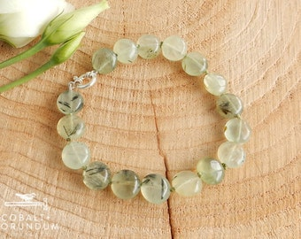 Green Prehnite mineral bracelet with sterling silver clasp | Green gemstone (10 mm) coin flat round
