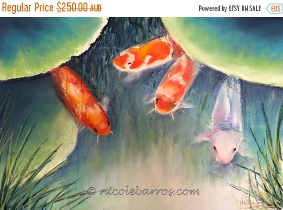 Sale koi fish painting original pastel by nicolebarrosart for Original koi fish