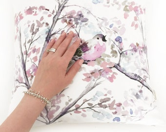 Watercolor Floral Pillow Cover, Floral Bird Pillow Cover, Floral Cushion Cover, Unique Handmade Cushion Cover, Light Pink Throw Pillow Case