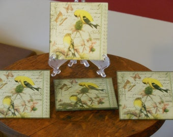 Set of Four Glass Goldfinch Coasters