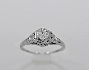 Antique Engagement Ring .25ct. Diamond & 18K White Gold Art Deco - J34028