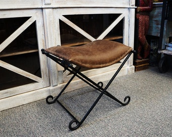 Iron & Leather Bench