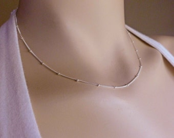 """Sterling Silver Satellite Chain Necklace, 16 Inch or 18"""", 16"""" or 18"""" Sterling Silver Satellite Chain Necklace, Finished Necklace"""