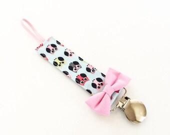 Pacifier Clip -Pink Owls- binky clip, bow, gift, newborn