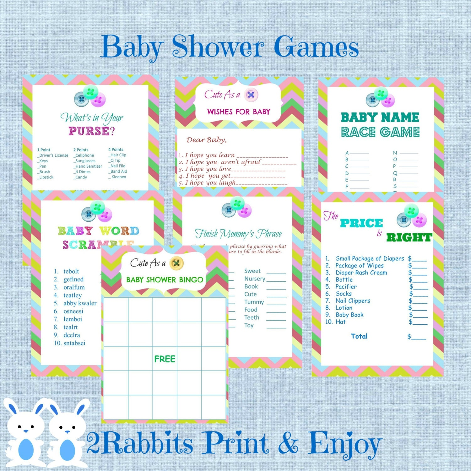 Cute As A Button Baby Shower Games Pack 7 Printable Games Name