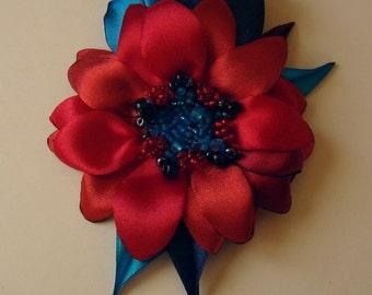 Handmade satin flower brooch, handmade red - blue flower clip & pin, dasy