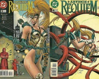 Artemis Requiem Comics x 2 - Vol 3 and Vol 4 - D C Comics - William Messner-Loebs - Art by Ed Benes and Doug Selogy. 1990s