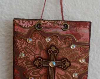 Cross Wall Art Home Decor Gift Mixed Media Collage Original Art Inspirational