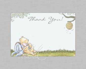 Classic Winnie The Pooh Postcard Style Thank You Card INSTANT DOWNLOAD