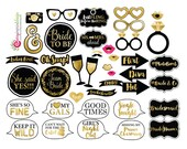 41 Funny Bachelorette Bridal Shower Photo Booth Props - Gold and Black Bridal Shower - INSTANT DOWNLOAD - DIY Printable (High-Res Jpeg)