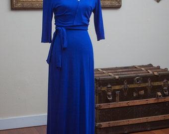 Blue Faux-wrap Jersey Maxi Dress