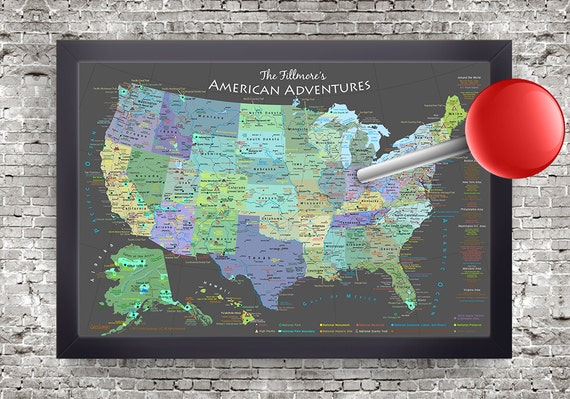 USA Map National ParksSlate Edition Framed Pin MapReady - Framed us map