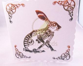 Steampunk Rabbit Blank Card, Rabbit Card, Steampunk Card, Hare Card, UK