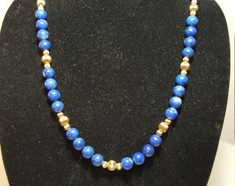 FREE  SHIPPING  Lapis Lazuli Beads and 14K Beads necklace